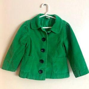 Gymboree Green Preppy Soft Corduroy Girls Jacket